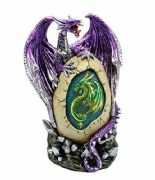 Amethyst Purple Dragon Guarding Egg Colour Changing LED Light Ornament Figurine